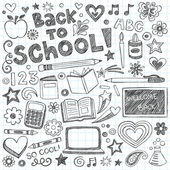 Back to School Sketchy Doodles Vector Design Elements — Vettoriale Stock