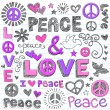 Peace & Love Sketchy Doodles Vector Design Elements - Stock Vector
