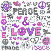 Peace & Love Sketchy Doodles Vector Design Elements — Stok Vektör