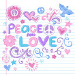 Peace and Love Sketchy Doodle Back to School Vector Design Elements — Stock Vector