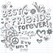 BEst Friends Forever BFF Back to School Sketchy Doodles Vector — Stockvektor