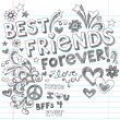 BEst Friends Forever BFF Back to School Sketchy Doodles Vector — Vettoriali Stock
