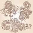Henna Mehndi Tattoo Doodles Vector Design Elements - Stock Vector
