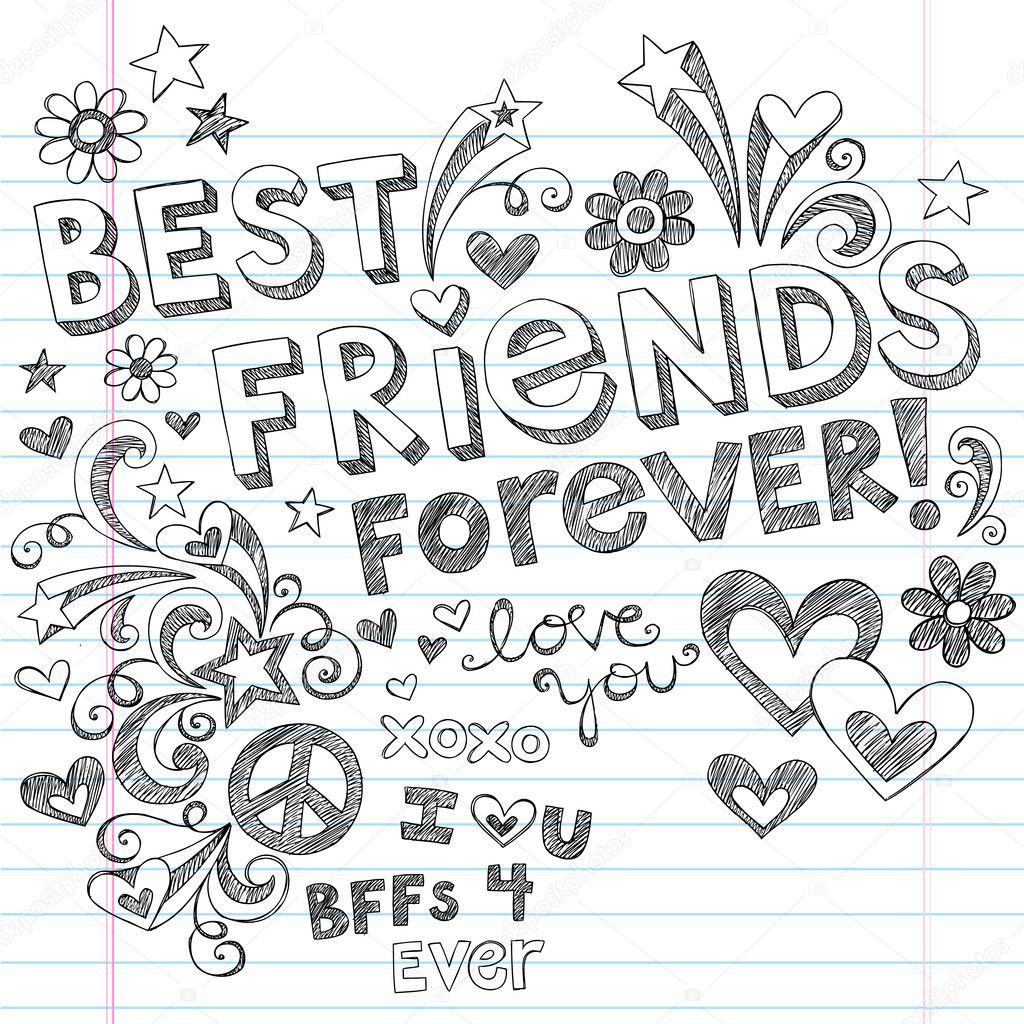 BEst Friends Forever BFF Back to School Sketchy Doodles Vector — Stock Vector © blue67 #11800091