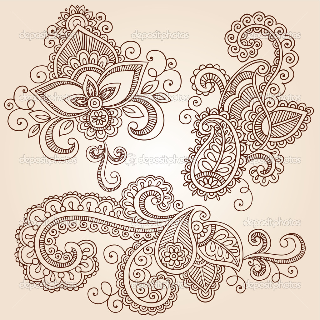 Hand-Drawn Henna Paisley Flowers Mehndi Doodles Abstract Floral Vector Illustration Design Elements — Stock Vector #11800105