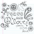 Stock Vector: Peace and Love Sketchy Doodle Back to School Vector Design Elements