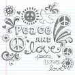 Royalty-Free Stock Vector Image: Peace and Love Sketchy Doodle Back to School Vector Design Elements