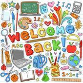 Back to School Supplies Notebook Doodle Vector Design Elements — 图库矢量图片