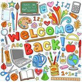Powrót do szkoły dostaw elementów projektu wektor zbiory notatnik — Wektor stockowy