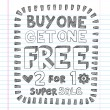 Buy One Get One Free Shopping Savings Sketchy Doodle Vector — Stock Vector #12010025