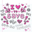 Sketchy Sale I Love to Save Doodles Vector Design Elements — Stock Vector