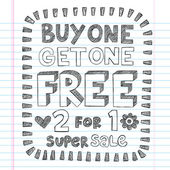 Buy One Get One Free Shopping Savings Sketchy Doodle Vector — Stock Vector