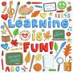 Back to School Classroom Supplies Doodle Vector Set — Stock Vector