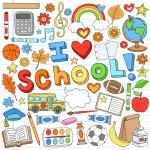 Back to School Notebook Doodles Vector Design Elements Set — Stock Vector
