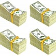 Stack of Older United States Currency Tied in a Ribbon - Ones, Twos, Fives and Tens — Stock Photo #11643949