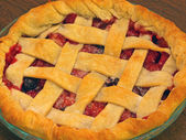 Fresh Baked Three-Berry Pie with Lattice Crust — Stock Photo