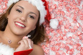 Christmas Candy Girl — Stock Photo