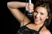Singing Karaoke Girl — Stock Photo