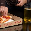 Pizza and Beer Man — Stockfoto
