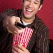 Popcorn Man Watching TV — Stock Photo