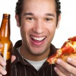 Man With Pizza and Beer — Stock Photo