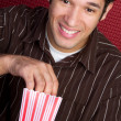 Stock Photo: Man Eating Popcorn