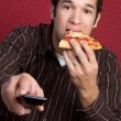 TV Pizza Man — Stock Photo