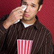 Crying Man Watching Movie — Stock Photo