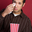 Crying Man Watching Movie - Stock Photo