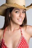 Smiling Bikini Cowgirl — Stock Photo
