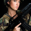 Army Gun Woman — Stock Photo