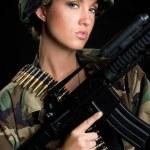 Army Gun Woman — Stock Photo