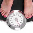 Stepping on Bathroom Scales - Stock Photo
