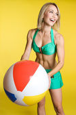 Beach Ball Girl — Stock Photo
