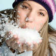 Woman Blowing Snow - Stock Photo