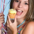 Woman Eating Cupcake — Stock Photo