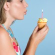 Birthday Girl Blowing Candle — Stock Photo