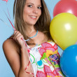 Girl Holding Balloons — Stock Photo