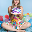 Pretty Girl Holding Birthday Cake — Stock Photo