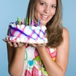 Birthday Cake Girl — Stock Photo