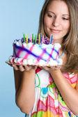 生日蛋糕女孩 — 图库照片