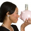 Woman Holding Piggy Bank — Stock Photo #11430107