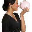 Woman Holding Piggy Bank — Stock Photo #11430137