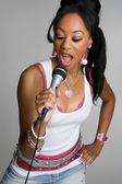 Black Woman Singing — Stock Photo