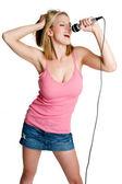 Blond Girl Singing — Stock Photo