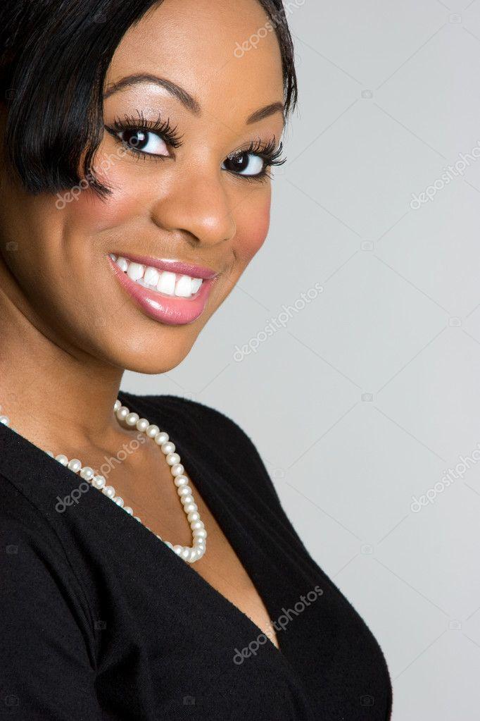 微笑黑女人 — 照片作者图片