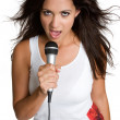 Hispanic Girl Singing — Stock Photo