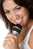 Singing Latina Woman — Stock Photo