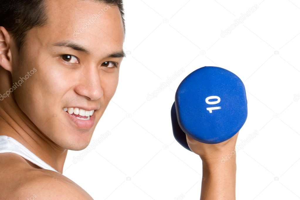 Young asian man with dumbells — Stock Photo #11662371