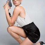 Kneeling Gun Woman — Stock Photo